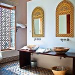 Bathroom, Colorful Mosaic Floor Tiles, White Wall, Wooden Vanity Table, Marble Sink, Moroccan Mirrors, Moroccan Windows