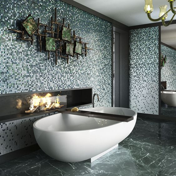bathroom, marble floor, white tub, mosaic tiles on the wall, wall decoration, fireplace on the dented shelves on the wall, chandelier