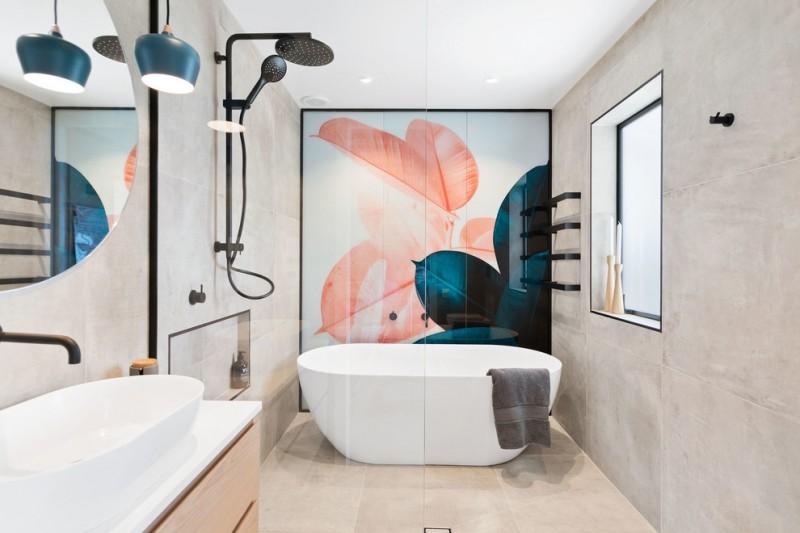 bathroom wall decorating ideas accenr wall black shower fixture vanity acrylic freestanding tub window wall mirror wall sconce