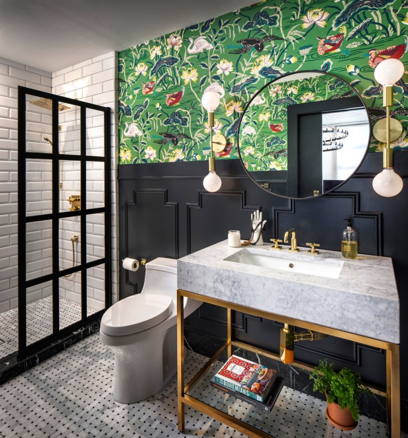 bathroom wall decorating ideas black wall trim gold wall sconces grey marble freestanding sink with gold base gold shower fixtures