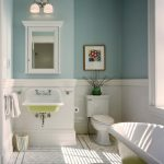 Bathroom Wall Decorating Ideas Ble And White Walls Mirrored Wall Cabinet Wall Mounted Sink Green Acrylic Bathtub Mosaic Floor Tile Toilet Faucet