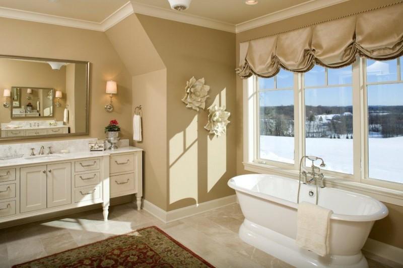 bathroom wall decorating ideas freestanding tub glass windows valances tub filler mediterranean rug vanity sink marble countertop wall mirror wall sconce