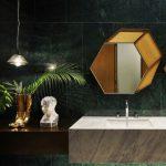 Bathroom, White Green Floor Tiles, Dark Green Wall Tiles, Grey Floating Marble, Floating Wooden, Pendant, Golden Hexagonal Mirror