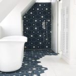 Bathroom, White Tiles, Black Tiles, Star Tiles On Floor And Wall, Sloping Ceiling, White Tall Tub