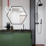 Bathroom, White Tiny Rectangular Wall Tiles, Green Cabinet, Hexagonal Mirror, Black Marble Top, Dark Glass Partition, Black Shower
