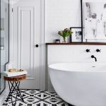 Bathroom, White Tub, White Subway Wall Tiles, White Ceiling, Glass Partition, Black And White Patterned Floor Tiles