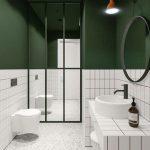 Bathroom, White Wall Tiles, Green Painted Wall, Mirror Partition, White Terrazzo Floor, White Tiles Vanity, White Round Sink, White Floating Toilet, Round Mirror