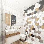 Bathroom, Wooden Floor, White Rectangular Wall Tiles, White Brown Black Hexagonal Tiles, White Ceiling, Floating Cabinet And Sink, Hexagonal Mirror