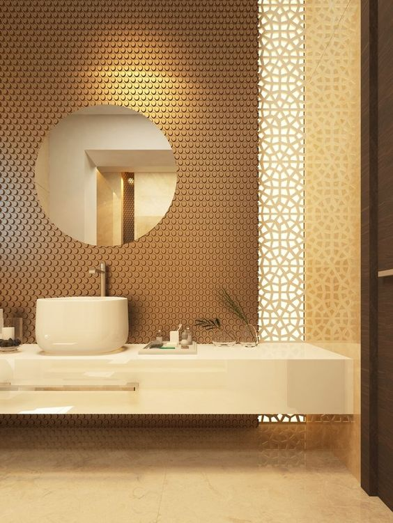 bathroom, yellow brown floor, floating marble vanity, marble round sink, yellow patterned wall, brown textured wall, round mirror