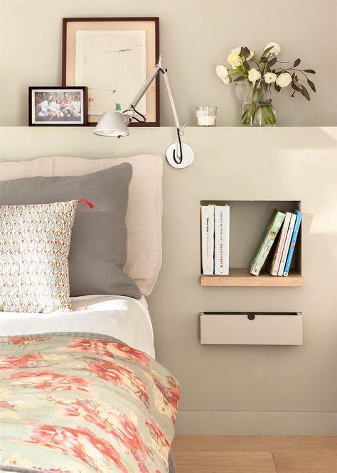 bedroom, beige wall, beige block headboard with built in shelves, drawers, sconce
