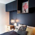 Bedroom, Black Statement Wall, Glass Pendant, Black Upper Cabinet, Square Shelves, White Pendant