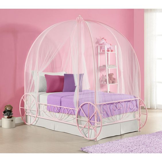 bedroom, white floor, white bed platform with pink carriage frame, pink wall, white curtain, purple rug