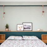Bedroom, White Wall, Pendants, Floating Shelves, Green Wall On Half Bottom, Wooden Side Shelves, White Bedding