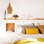 Bedroom, Wooden Floor, White Wall, Indented Wall With Wooden Layerfor Shelves, Square Wooden Shelves, Rattan Pendant