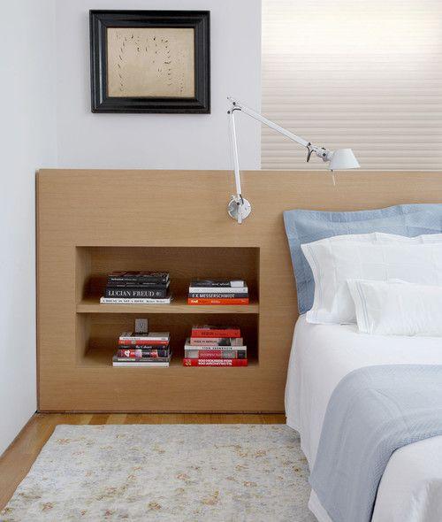 bedroom, wooden floor, wooden block with shelves, white sconce, white bedding, grey rug