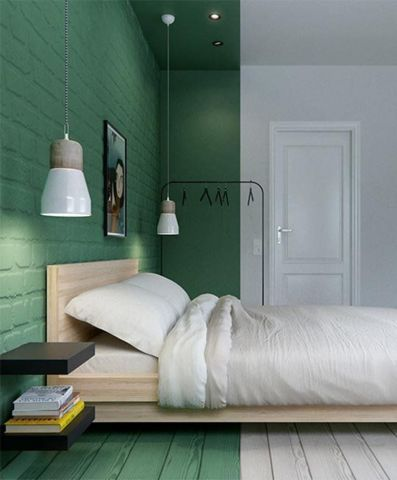 bedroom, wooden plank floor in white and green, green painted wall on the head bed, black floating shelves, white pendant on long rope, white bedding