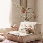 Beige Tufted Cushion Shaped Like Chairs, Rug, Beige Wall