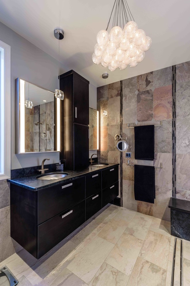 black bathroom cabinets chandelier wall sconces mirrored cabine towel holders beige floor and wall tiles undermount sink faucet pendant lamps