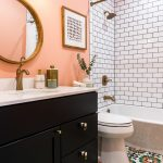 Black Bathroom Cabinets Pink Wall Round Wall Mirror Toilet Built In Tub Gold Shower Fixtures Gold Curtain Rod Colorful Floor Tile White Subway Tile Sink Faucet