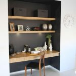 Black Painted Alcove, Brown Wooden Floating Shelves, Brown Wooden Floating Table With Drawer, Wooden Chair With Black Leater Seat