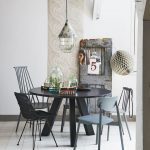 Black Round Dining Table, Grey Black Chairs, White Floor, White Wal, Pendant