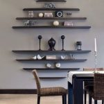 Black Wooden Floating Shelves In Round Arrangements With Large Middle Space