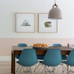 Blue Mid Century Modern Chairs, Wooden Dining Table, Beige Pendant, White Pink Wall, Wooden Floor, White Wooden Ceiling