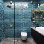 Blue Wall Tile Insert Storage Glass Divider Shower Head Black Floating Vanity Wall Mounted Faucet White Sink Bowl Wall Sconces Gray Floor