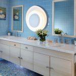 Blue Wall Tile Light Fixture Wall Mirrors Floating Vanity White Granite Cuntertop Double Sink Faucet Towel Ring Artwork Blue Glass Mosaic Floor Tile