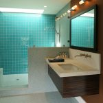 Blue Wall Tile Skylight Floating Vanity Shower Fixtures Bench Wall Mirror Wall Sconces Mosaic Floor Tile Undermount Sink Wall Mounted Faucet