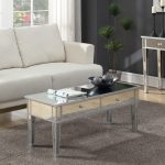 Coffee Table With Storage Drawers Mirrored Coffee Table White Sofa Wooden Floor Gray Textured Rug Black Wall Mirrored Console Table White Curtain