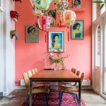 Colorful Paper Lanterns, Pink Wall, Grey Floor, Wooden Table, Wooden Chairs, Pink Rug, White Wall, Glass Windows And Door