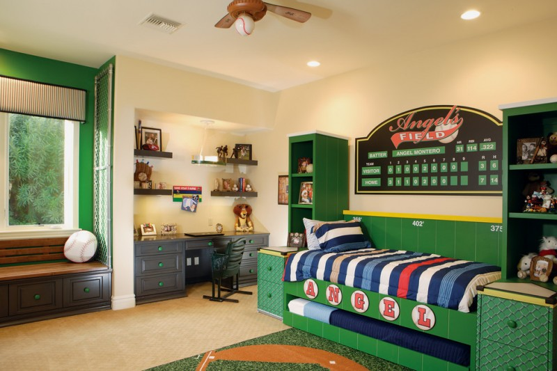 custom kids bed green bed green wall window seat black drawers green shelves wall mounted shelves black chair black desk hidden bed