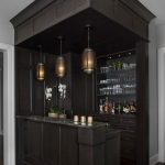 Dark Wooden Bar Box With Glass Shelves, Cabinet, Marble Top, Black Pendant