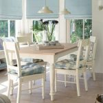 Dining Nook, Wooden Floor, White Wooden Dining Table Set, White Window Bench, Blue Plaid Pillows, White Pendant, Blue Roman Shade