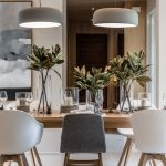 Dining Room, White Floor, Beige Wall, White Grey Chairs, Wooden Table, Grey Pendant