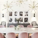 Dining Room, White Marble Table, Pink Velvet Chairs, White Wall, Spears Pendant