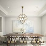 Dining Room, White Rug, Wooden Table, Wooden Chairs, White Chair, Spherical Metal Frame With Candle Lamps