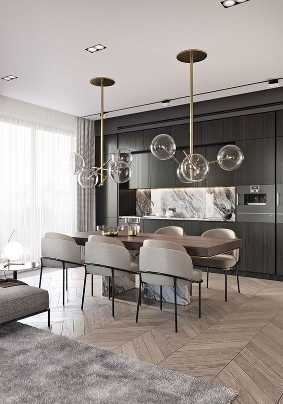 dining room, wooden chevron floor, black wooden pantry, wooden table, modern chairs with beige cushion, bulbs pendants