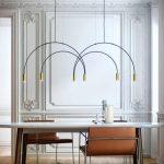 Dining Room, Wooden Floor, Modern Warm Orange Chair, White Marble Table, U Turn Pendant