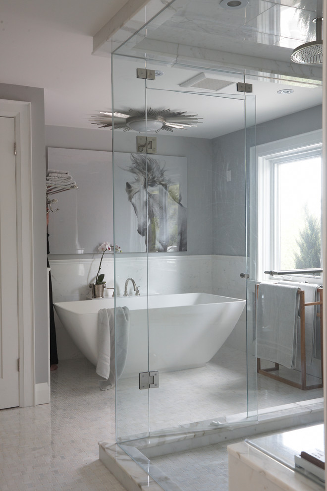 giant wall art ceiling lamp acrylic freestanding tub window glass shower doors tub filler towel holder floor tile gray wall