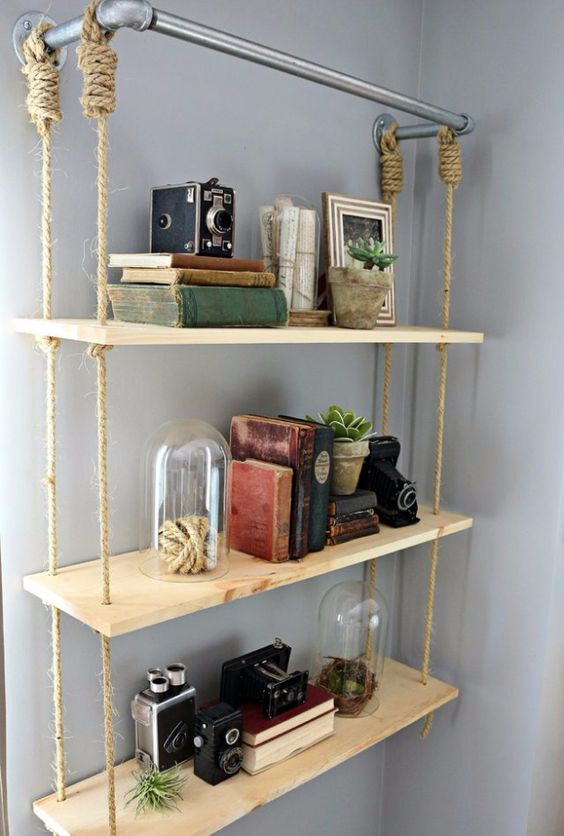 hanging shelves with rattan rope, wooden boards