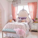 Kids Bedrom, Beige Floor, Pink Wall, Green Wooden Bench, White Rug, Bed With Tall Headboard, Pink Curtain, Ceiling With Golden Stars, Rattan Pendants, Mirrored Glass Side Cabinet