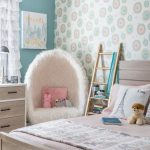 Kids Bedroom, Patterned Wallpaper, Green Wall, White Furrle Curtain, White Fur Chair, Wooden Bed Platform, Wooden Cabinet