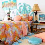 Kids Bedroom, Rattan Rug, Green Rattan Bed Platform, White Wall, Bamboo Side Table, Rattan Table Lamp