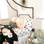 Kids Bedroom, White Wall, Whte Table Lamp, Golden Mirrored Side Table, Black Metal Bed Platform