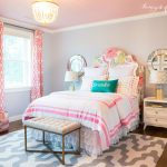 Kids Bedroom, Wooden Floor, Pattern White Rug, Grey Wall, Pink Ceiling, Flower Patterned Headboard, White Bed, White Wooden Side Table, Mirror, White Bench, Chandelier