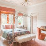 Kids Bedroom, Wooden Floor, Pink Rug, Hite Metal Bed Platform With Branch Details On Top, Wallpaper Ceiling, White Plank Wall, Side Table, Tight Chandelier