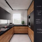Kitchen, Beige Floor, Wooden Bottom Cabinet, Black Upper Cabinet, Black Countertop, Black And Wood Surface Pantry, White Wall, Ceiling Lamp