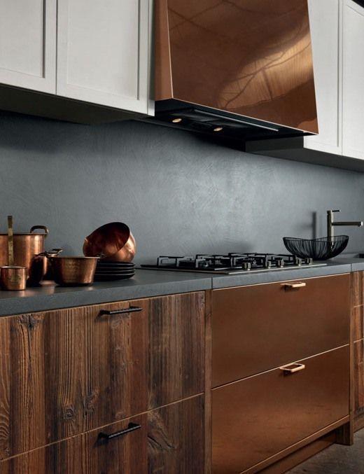 kitchen, beige floor, wooden cabinet, brass cabinet, grey wall, grey counter top, white upper cabinet, brass hood